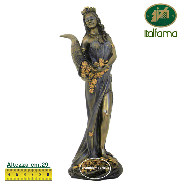 Statua in resina bronzata raffigurante la dea bendata della Fortuna . Statua  interamente rifinita a mano in ogni dettaglio e bronzata, altezza cm. Ht. 29cm. Elegante idea regalo della Italfama di Firenze-Italia. SR71833