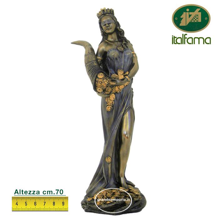 Statua in resina bronzata raffigurante la dea bendata della Fortuna, statua interamente rifinita a mano in ogni dettaglio e bronzata, altezza cm. ht. 78cm. elegante idea regalo della Italfama di Firenze-Italia.sr73677