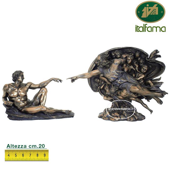 Composizione due statue La Creazione di Michelangelo Buonarroti, in resina bronzata rifinite a mano cm.20 Italfama Firenze.