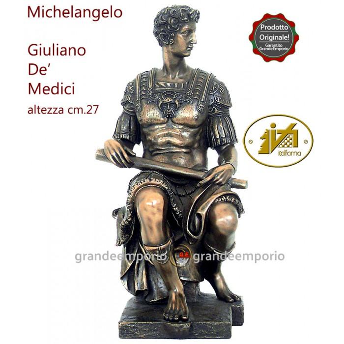 Statua in resina bronzata riproducente la statua di Giuliano de Medici di Michelangelo Buonarroti. Statua interamente rifinita a mano in ogni dettaglio, alyezza cm,27. Elegante idea regalo. SR72726.