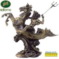 Statua Poseidone ( Nettuno) Dio del mare, in resina bronzata rifinita a mano altezza cm.31. Italfama Firenze SR71738