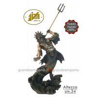 Statua in resina bronzata raffigurante Poseidone Dio del mare. Statua  interamente rifinita a mano in ogni dettaglio e con ottima bronzatura, altezza cm.34. Elegante idea regalo della Italfama di Firenze-Italia. SR70787.