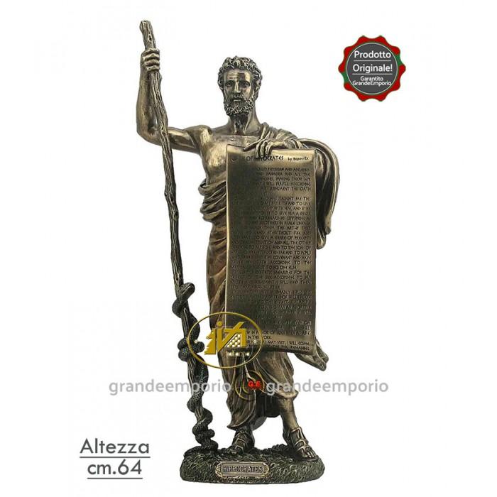 Statua in resina bronzata raffigurante Ippocrate. Statua  interamente rifinita a mano in ogni dettaglio e bronzata, altezza cm. Ht. 64cm. Elegante idea regalo della Italfama di Firenze-Italia. SR76713