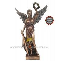 Statua in resina bronzata raffigurante Nike dea della Vittoria. Statua  interamente rifinita a mano in ogni dettaglio e bronzata, altezza cm.37. Elegante idea regalo della Italfama di Firenze-Italia. SR76010.