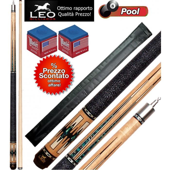 Biliardo Pool stecca semipro Leo Billiards Star Barton, smontabile 2pz. lunghezza cm.147. Punta in acero con cuoio diametro m.12,8, con foderino porta stecca in omaggio e accessori.