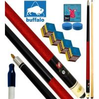 Buffalo Casinò Ball&Rose stecca biliardo pool, tutte le discipline. Stecca 2pz. cm.145, cuoio  mm.12, con ricambi e omaggio.