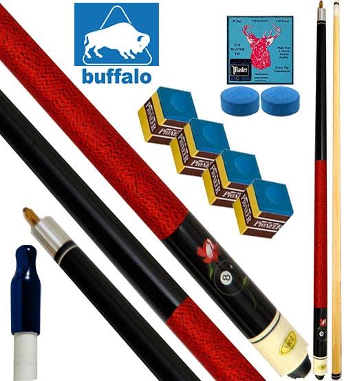 Buffalo Casinò Ball&Rose stecca biliardo pool, tutte le discipline. Stecca 2pz. cm.145, cuoio Ø mm.12, con ricambi e omaggio.
