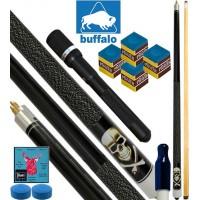 Buffalo Casinò Black Death stecca biliardo pool, tutte le discipline. Stecca 2pz. cm.145, cuoio Ø mm.12. Prolunga, ricambi e omaggio.