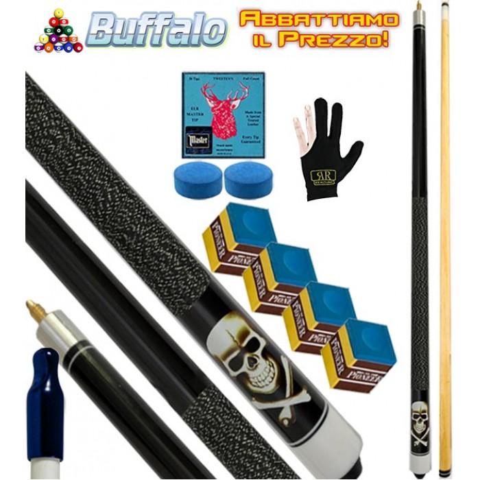 Buffalo Casinò Black Death stecca biliardo carambola e pool, tutte le discipline. Stecca 2pz. cm.145, cuoio Ø mm.12, con ricambi, accessori e omaggio.