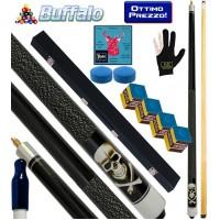 Buffalo Casinò Black Death stecca biliardo carambola e pool, tutte le discipline. Stecca 2pz. cm.145, cuoio Ø mm.12, con valigetta, ricambi, accessori e omaggio.