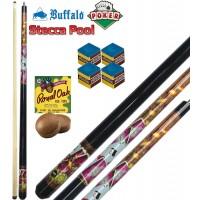 Stecca biliardo pool-carambola (15 palle) Buffalo Poker, smontabile 2 pezzi, lunghezza cm.145, cuoio m.13. Grafica ispirata al poker. Dotazione ricambi e accessori