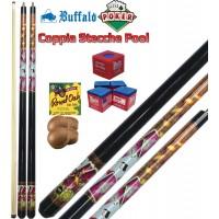 Coppia stecche biliardo pool (carambola 15 palle) Buffalo Poker, smontabili 2 pezzi, lunghezza cm.145, cuoio m.13. Grafica ispirata al poker. Dotazione ricambi e accessori
