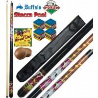 Stecca biliardo pool (carambola 15 palle) Buffalo Poker, smontabile 2 pezzi, lunghezza cm.145, cuoio m.13. Grafica ispirata al poker. Dotazione fodero porta stecca basic, ricambi e accessori omaggio