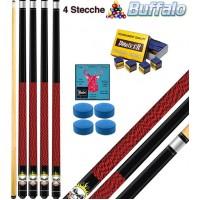 Buffalo Rocky quattro (4) stecche biliardo smontabili 2 pz. tutte le discipline pool. Lunghezza cm.120, punta Ø mm.12, con cuoi di ricambio e omaggio.