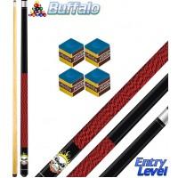 Buffalo Rocky stecca biliardo smontabile 2 pz. tutte le discipline pool. Lunghezza cm.145, punta Ø mm.12, con omaggio.