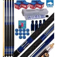 Buffalo Tycoon blu kit 4 stecche biliardo pool cm.145, punta Ø mm.12, smont.li 2 pz. accessori, ricambi e omaggio, vedi dettagli.