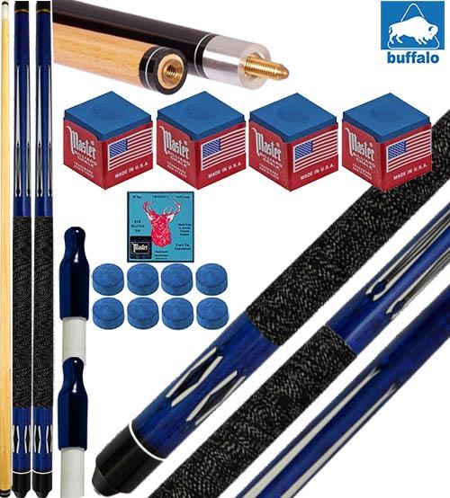 Buffalo Tycoon Blu coppia stecche biliardo pool cm.145, punta Ø mm.12, smont.li 2 pz. con accessori, ricambi e omaggio.