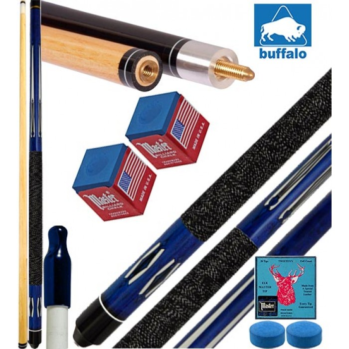 Stecca biliardo pool 15 palle (carambola) Tycoon blu cm.145, punta diametro mm.12, smont.le 2 pz. con accessori, ricambi e omaggio. Offerta promozionale.