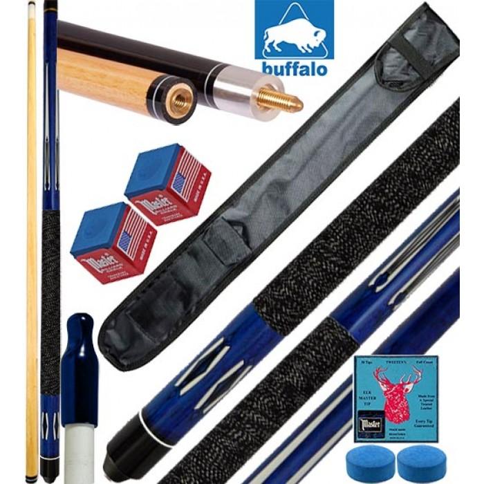 Buffalo Tycoon Blu stecca biliardo pool cm.145, punta  mm.12, smont.le 2 pz. con fodero, accessori, ricambi e omaggio.
