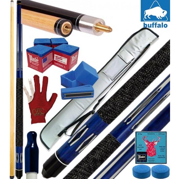 Buffalo Tycoon Blu stecca biliardo pool cm.145, punta mm.12, smont.le 2 pz. con fodero Price , accessori, ricambi e omaggio.