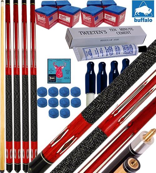 Buffalo Tycoon Rosso kit 4 stecche biliardo pool cm.145, punta  mm.12, smont.li 2 pz. accessori, ricambi e omaggio, vedi dettagli.