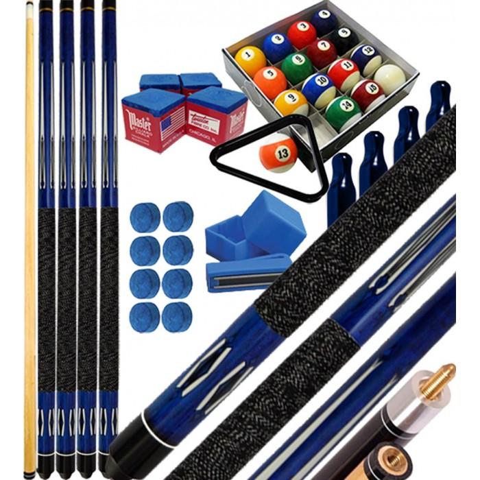 Buffalo Tycoon Blu kit 4 stecche biliardo pool cm.145, punta  mm.12, smont.li 2 pz. Bilie 57,2 pool, accessori, ricambi e omaggio, vedi dettagli.