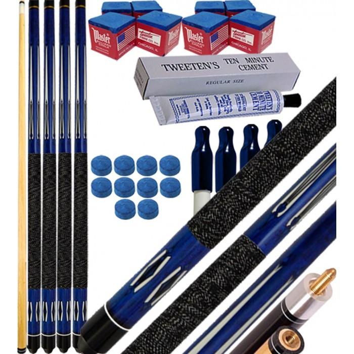 Buffalo Tycoon blu kit 4 stecche biliardo pool cm.145, punta  mm.12, smont.li 2 pz. accessori, ricambi e omaggio, vedi dettagli.