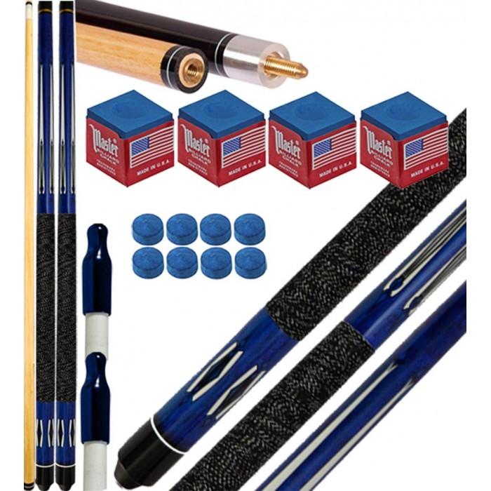 Buffalo Tycoon Blu coppia stecche biliardo pool cm.145, punta  mm.12, smont.li 2 pz. con accessori, ricambi e omaggio.