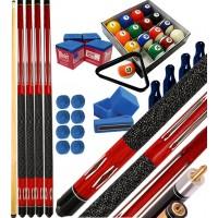 Buffalo Tycoon Rosso kit 4 stecche biliardo pool cm.145, punta  mm.12, smont.li 2 pz. Bilie 57,2 pool, accessori, ricambi e omaggio, vedi dettagli.