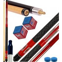 Stecca biliardo pool 15 palle (carambola) Tycoon red cm.145, punta diametro mm.12, smont.le 2 pz. con accessori, ricambi e omaggio. Offerta promozionale.