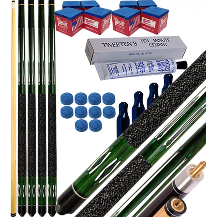 Buffalo Tycoon Verde kit 4 stecche biliardo pool cm.145, punta Ø mm.12, smont.li 2 pz. accessori, ricambi e omaggio, vedi dettagli.