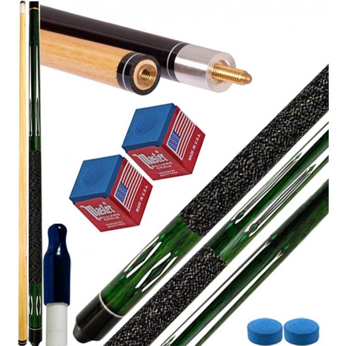 Stecca biliardo pool 15 palle (carambola) Tycoon verde cm.145, punta diametro mm.12, smont.le 2 pz. con accessori, ricambi e omaggio. Offerta promozionale.