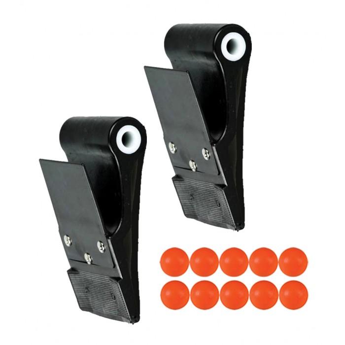 Coppia Palette-pale Dribling pro per gioco Tam-Tam in polietilene Nero, cm.8,5x10,8 diametro interno mm.12, con schermo paramani.