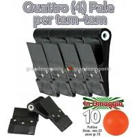 Quattro (4) Palette-pale Dribling pro per gioco Tam-Tam in polietilene Nero, cm.8,5x10,8 diametro interno mm.12, con schermo paramani, con 10 palline in omaggio