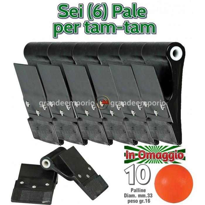 Sei (6) Palette-pale Dribling pro per gioco Tam-Tam in polietilene Nero, cm.8,5x10,8 diametro interno mm.12, con schermo paramani, con 10 palline in omaggio