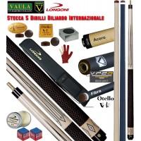 Stecca 5 birilli e 9 birilli-Goriziana biliardo internazionale Longoni Vaula Victoria Pro, 2 punte, acero e fibra di carbonio. Omologata coni fibis, con fodero Longoni G-Lux 2+2, accessori e omaggi.