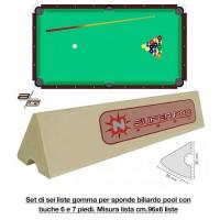 Super Pro by Longoni set di 6 liste cm. 96 di gomma per sponde biliardo pool 6 e 7 piedi con campo da gioco cm.200x100.