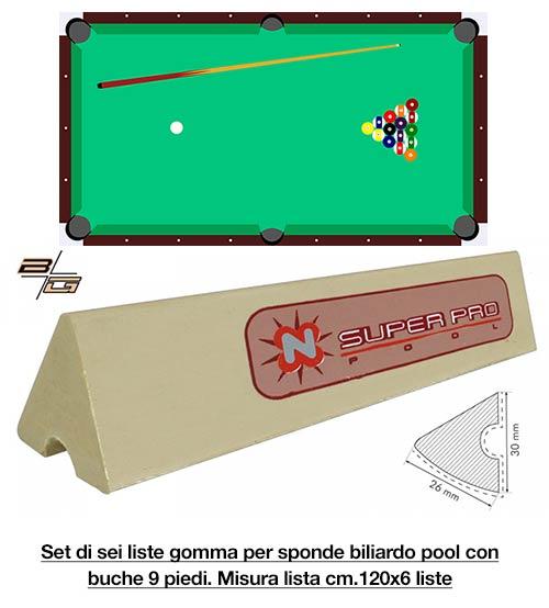 Super Pro by Longoni set di 6 liste cm.120 di gomma per sponde biliardo pool 9 piedi campo da gioco cm.254x127.