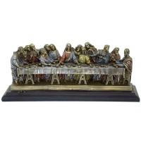 Riproduzione in resina bronzata e colorata cm. 36x14, made in Italy, della famosa opera di Leonardo Da Vinci l'Ultima cena.