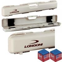 Stecca biliardo custodia Longoni Shuttle valigetta porta stecca, rigida, in polypropylene capacità un calcio e due punte. Misure esterne mm.850X140X80, colore grigio polvere