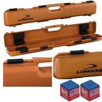 Stecca biliardo custodia Longoni Shuttle valigetta porta stecca, rigida, in polypropylene capacità un calcio e due punte. Misure esterne mm850X140X80, colore terra di siena