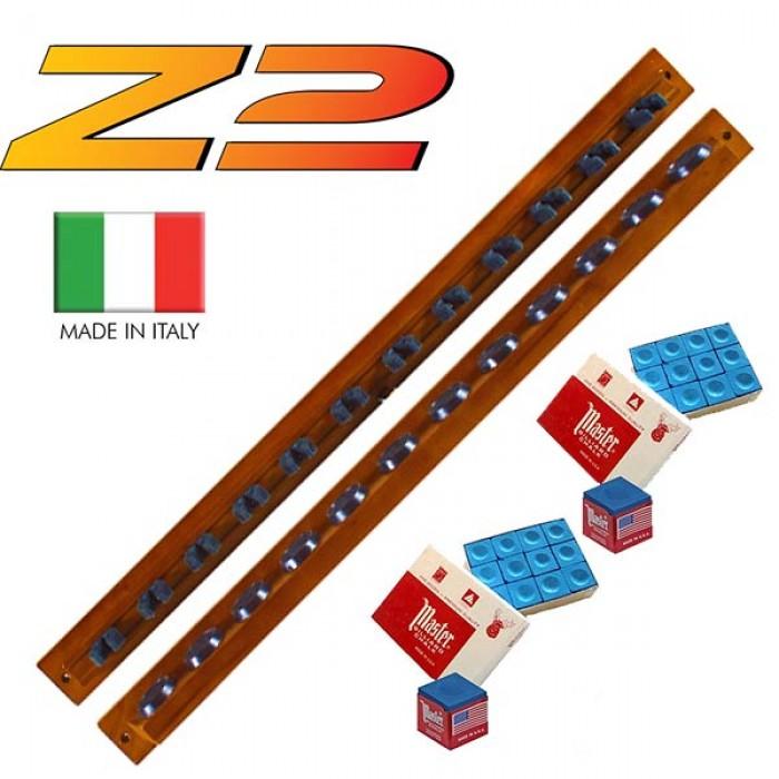 Lux Z2 porta stecche made in Italy a mensola da parete. Realizzato in legno massello, due pezzi,  colorazione mogano, per 12 stecche.