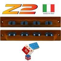 Stecca biliardo porta stecche a muro Lux Z2 4 posti. Prodotto made in Italy realizzato in legno massello, che garantisce robustezza e durata, due pezzi colorazione mogano.