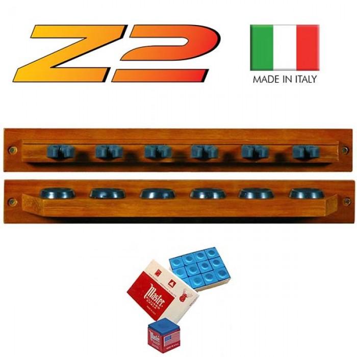 Lux Z2 porta stecche made in Italy a mensola da parete. Realizzato in legno massello, due pezzi,  colorazione mogano, per 6 stecche.