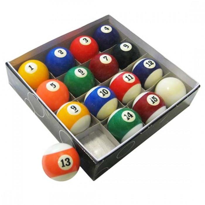 Biliardo specialità pool OAH set biglie  48mm. 15 biglie colorate numerate ed una bianca battente.