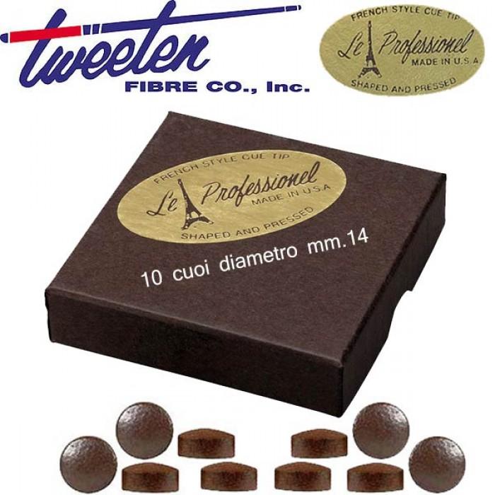 Tweeten Le Professionel confezione 10 cuoi per stecca biliardo durezza medium Ø mm.14.
