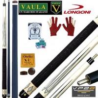 Longoni Vaula Classic Victoria Pro stecca 2pz. cm. 142, punta Longoni Shadow in fibra di carbonio, Ø mm.12.  Disciplina 5 Birilli biliardo internazionale. Ricambi, accessori e omaggio.