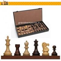 Scacchi Staunton in legno di bosso e palissandro mod. Londra 1851 RE h.mm.95. confezionati in scatola similpelle.