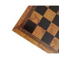 Scacchiera Italafama in similpelle finitura mappamondo cm 33x33x1.5 casella cm 3.5