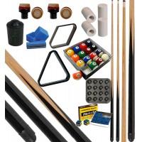 CPS Cassia 57 nera kit gioco pool. 2 stecche corredate da cuoi, ferule e paracolpo e in abbinamento un set di biglie pool mm.57, 2 corredato di triangolo e rombo. In omaggio sc. Gesso e porta gesso.